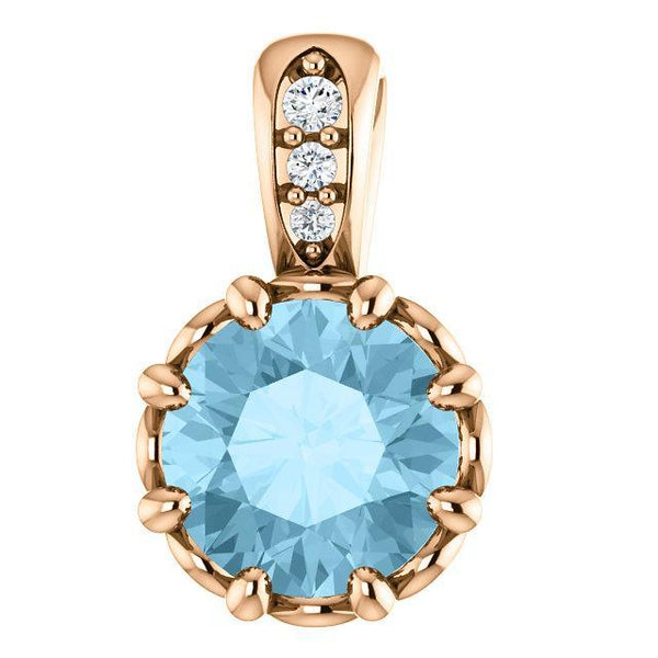 14K White Aquamarine & .02 CTW Diamond Pendant