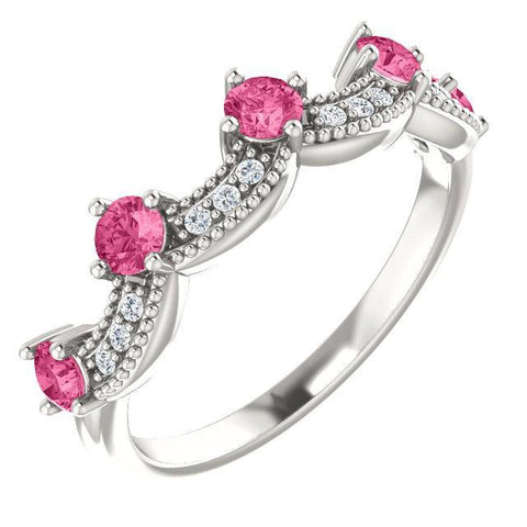 Pink Tourmaline Diamond Crown Ring