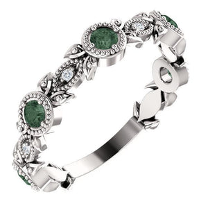 Genuine Gemstone & .03 CTW Diamond Leaf Ring