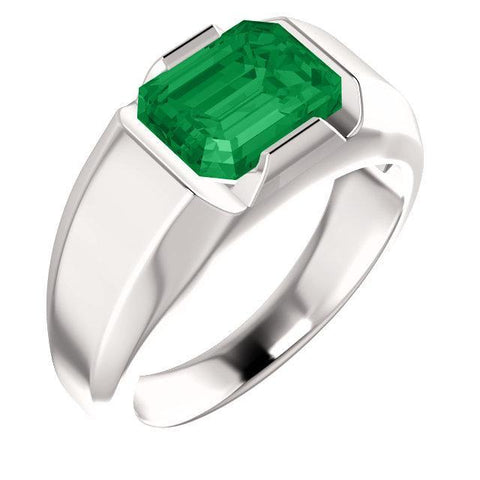 14K White Chatham® Created Emerald Men's Solitaire Ring