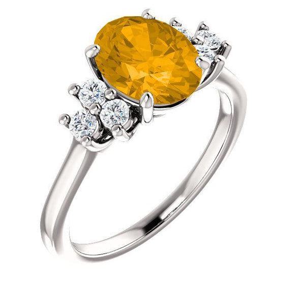 14K Gemstone & 1/4 CTW Diamond Ring
