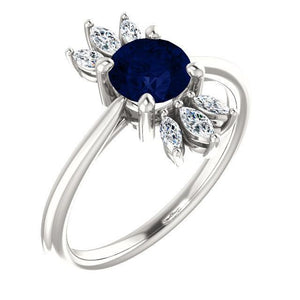 Chatham® Created Blue Sapphire & 1/4 CTW Diamond Ring