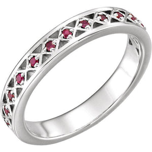 14K White Ruby Stackable Ring