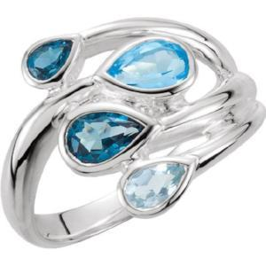 Sterling Silver Sky Blue Topaz, London Blue Topaz & Swiss Blue Topaz Bypass Ring