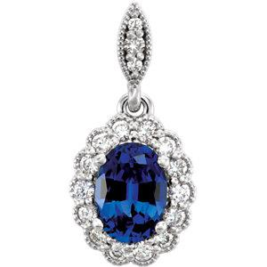 14K Chatham® Created Blue Sapphire and 1/5 CTW Diamond Pendant