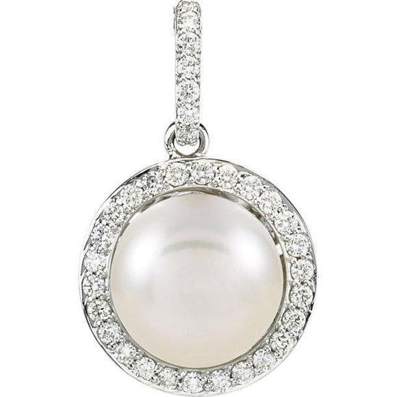 14K White Freshwater Cultured Pearl & 1/3 CTW Diamond Pendant