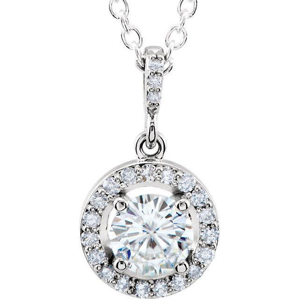 "14K White 6mm Round Forever One™ Moissanite & 1/5 CTW Diamond 18"" Necklace"