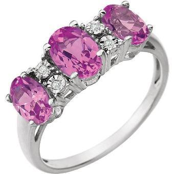 14K White 7x5mm Created Pink Sapphire & .02 CTW Diamond Ring
