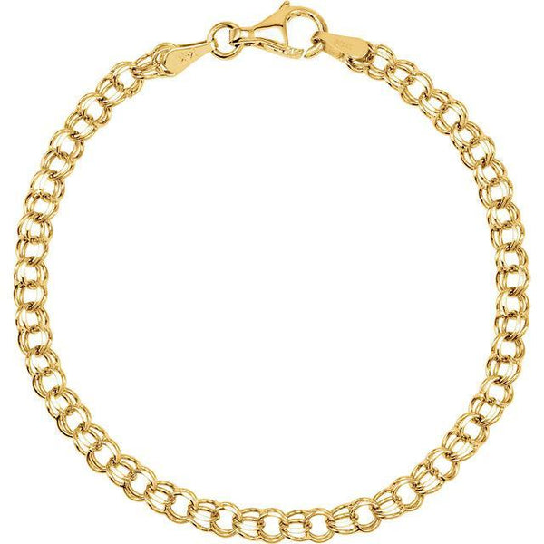 "14K 3.75mm Solid 7"" Charm Bracelet"