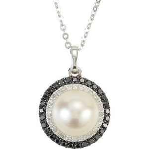 "14K White Freshwater Cultured Pearl & 1/4 CTW Black & White Diamond 18"" Necklace"