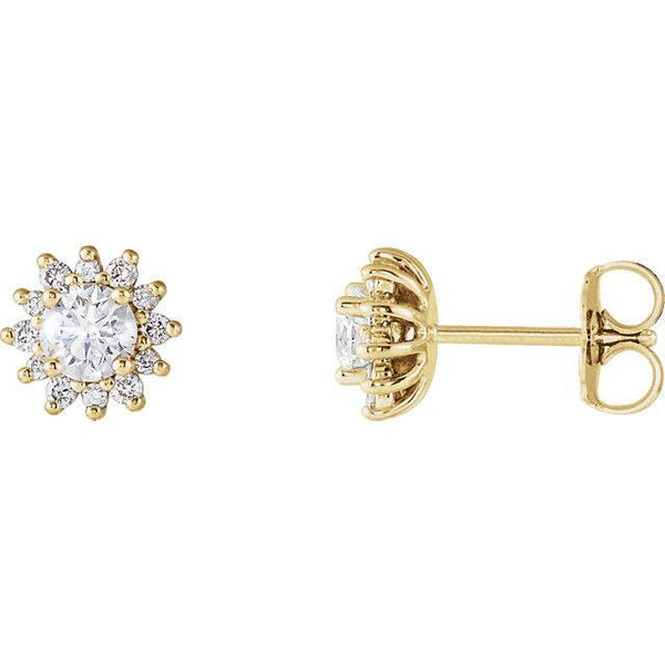 14K 4mm Round Forever One™ Moissanite & 1/6 CTW Diamond Earrings