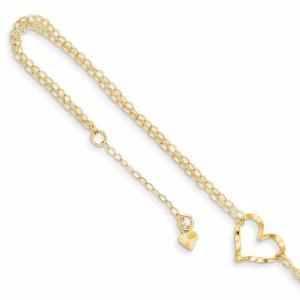 "14k Double Strand Heart 9"" With 1"" Ext Anklet"