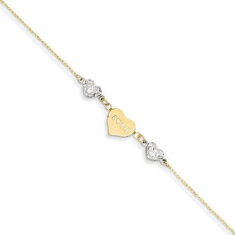 14K Two-Tone D/C Puffed Heart LOVE With 1in Ext Anklet