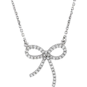 "14K White 1/4 CTW Diamond Bow 16"" Necklace"