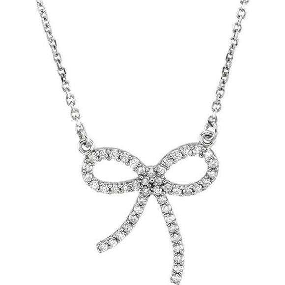14K White 1/4 CTW Diamond Bow 16