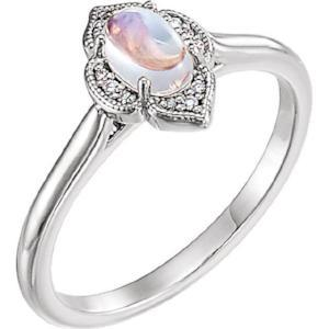 Rainbow Moonstone & .03 CTW Diamond Clover Cabochon Ring