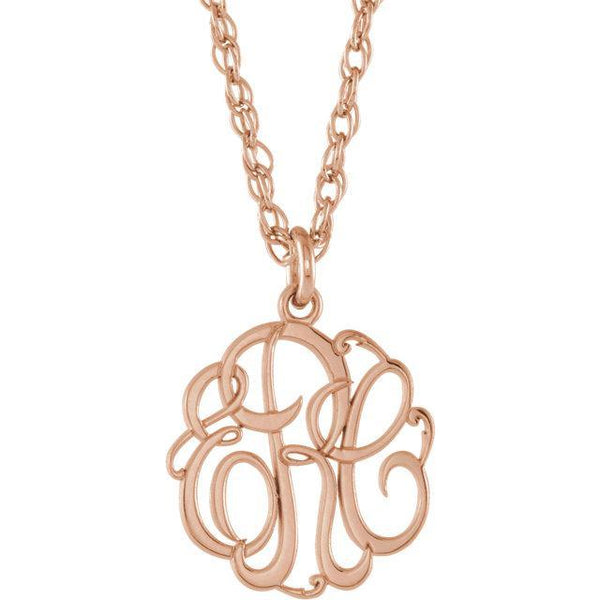 13mm 3-Letter Script Monogram Necklace