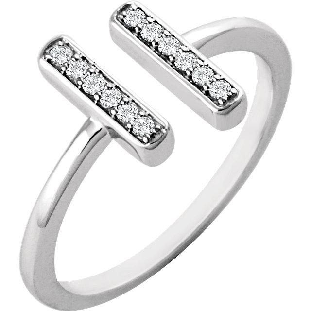 14K 1/10 CTW Diamond Vertical Bar Ring