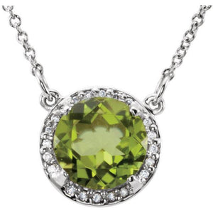 "Peridot & .05 CTW Diamond 16"" Necklace"