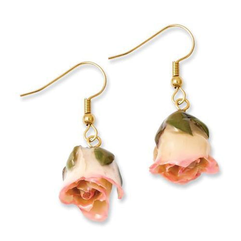 Lacquer Dipped Cream/Pink Rose Dangle Earrings