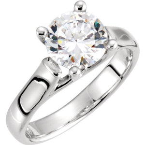 14K White Cubic Zirconia Engagement Ring
