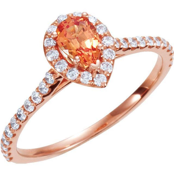 14K Rose Chatham Created Padparadscha Sapphire & 3/8 CTW Diamond Engagement Ring