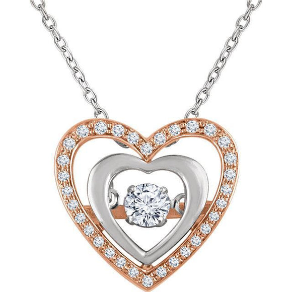 14K Rose & White 1/4 CTW Diamond Heart 18