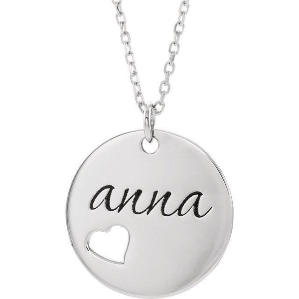 "Pierced Heart Engravable Disc 16-18"" Necklace"