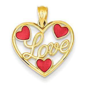 14k Red Enameled Hearts Pendant