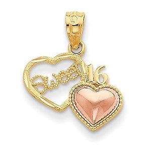 14k Two-Tone Sweet 16 Heart Pendant