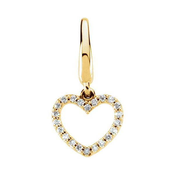 14K White 1/8 CTW Diamond Heart Charm