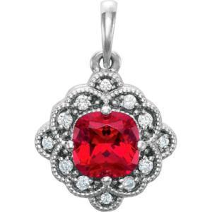 14K Chatham® Created Ruby & .03 CTW Diamond Pendant