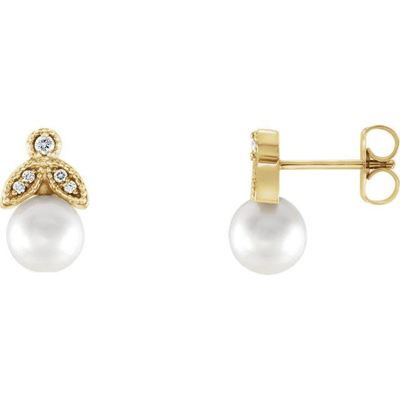 Leaf Freshwater Pearl & Diamond Earrings