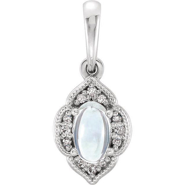 Rainbow Moonstone & .03 CTW Diamond Clover Pendant