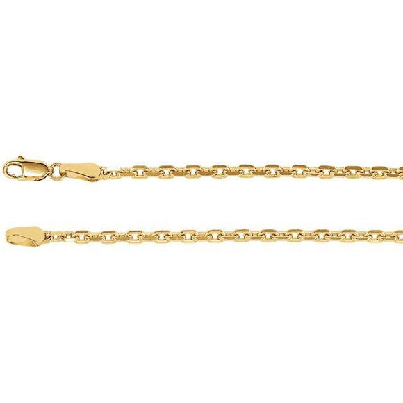 14K Yellow 2.5mm Diamond-Cut Cable Chain