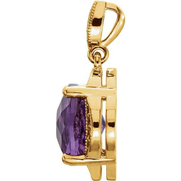 14K Checkerboard Amethyst & Diamond Pendant