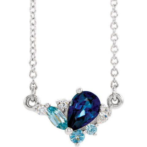 "14K Multi-Gemstone & .06 CTW Diamond 16"" Necklace"