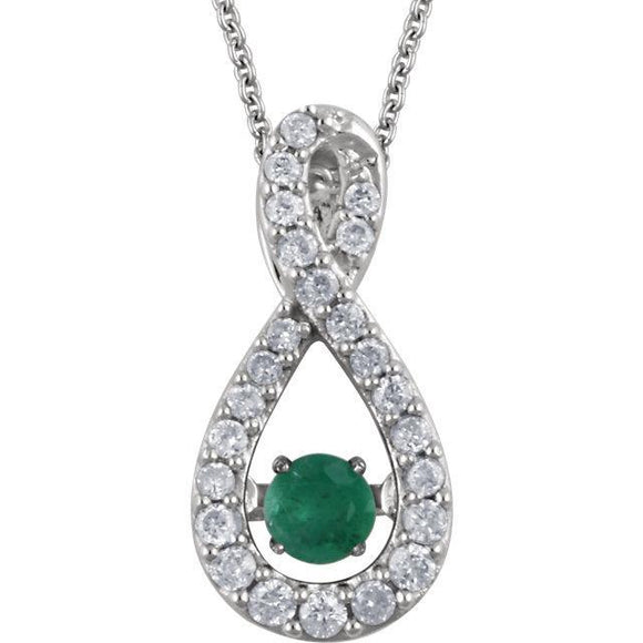 14K White Emerald & 1/6 CTW Diamond 18