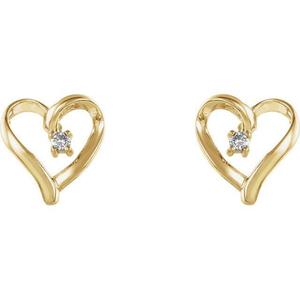 14K .04 CTW Diamond Heart Earrings