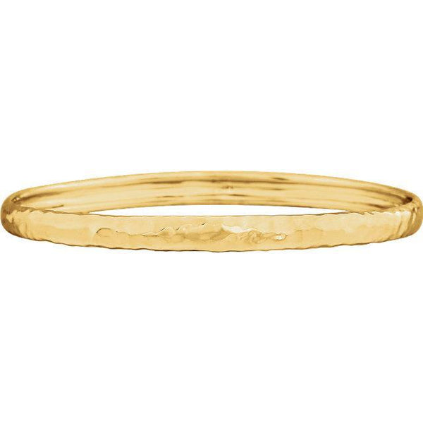 14K 5.1mm Hammered Bangle Bracelet