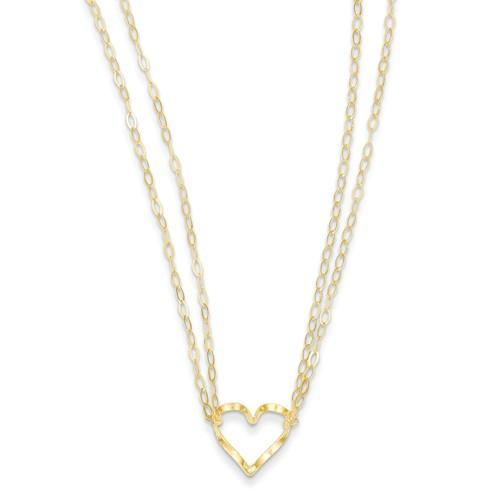 14K Adjustable Double Strand Heart Necklace