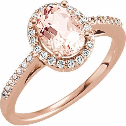 14K Morganite & 1/5 CTW Diamond Ring