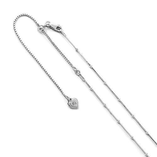 Leslie's Sterling Silver 1.5 mm Beaded D/C 22in Adjustable Box Chain