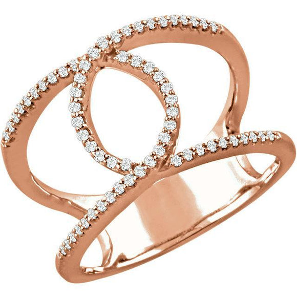 14K 1/5 CTW Diamond Interlocking Loop Ring