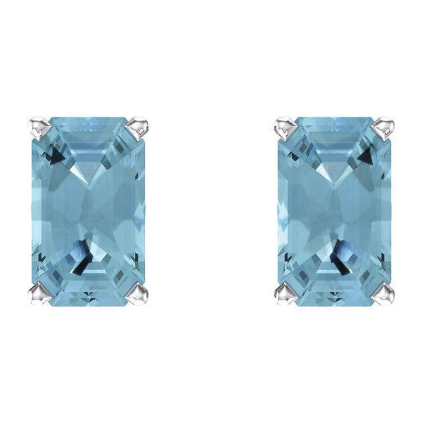 14K White Emerald Cut Gemstone Earrings