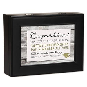 Graduation Sentiment Black Finish Music Box