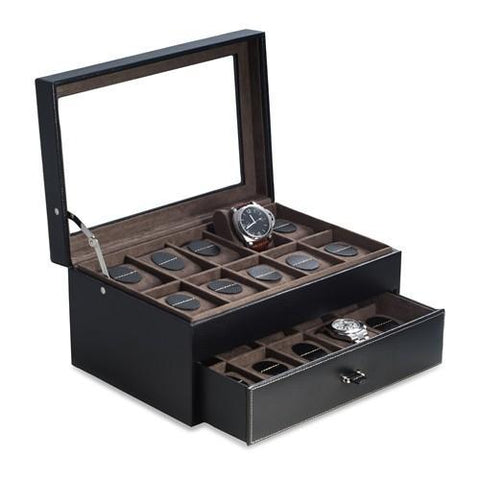 Black Leather 20-Watch Case With Drawer