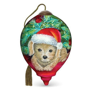 NeQwa Christmas Puppy Hand Painted Ornament