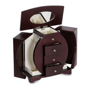 Mahogany Finish Oval Cut-Out Upright Wooden Jewelry Box