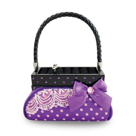 Purple Polka Dot Romance Handbag Ring Holder And Jewelry Box